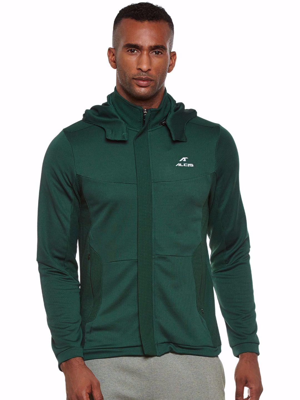 Alcis Men Green Running Hood Jacket