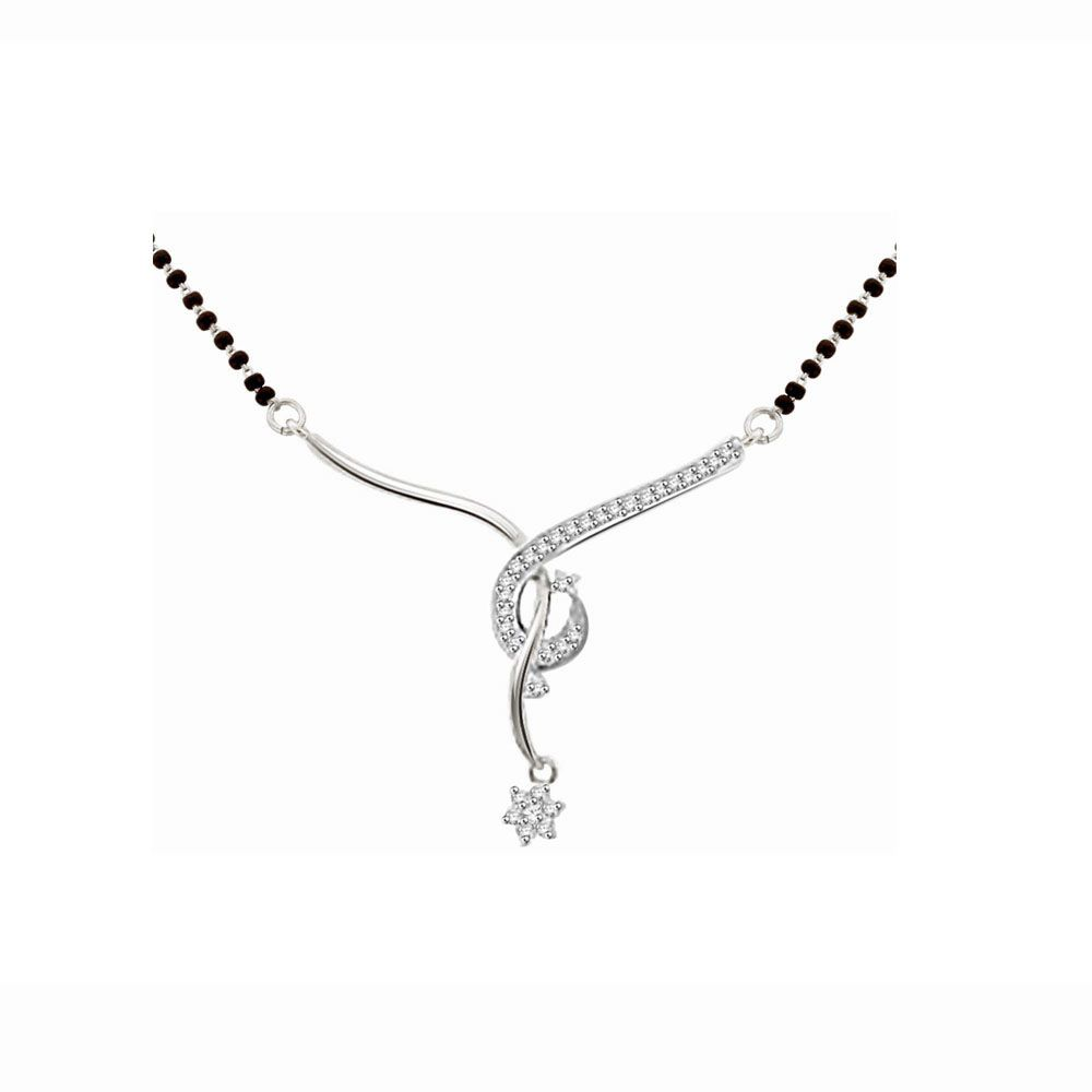 His & Her 9k White Gold Diamond Mangalsutra