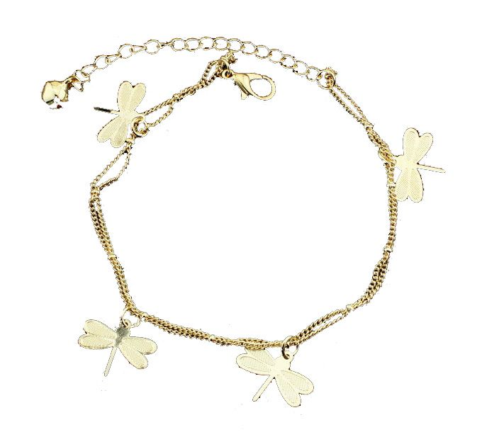 Gold Dragonfly Anklets 2 Layer Tassel Summer Beach Charms Foot Jewelry For Women