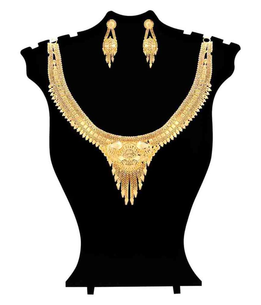 Jewlot 22K Gold Plated Swaga Necklace Set for Women and Girls