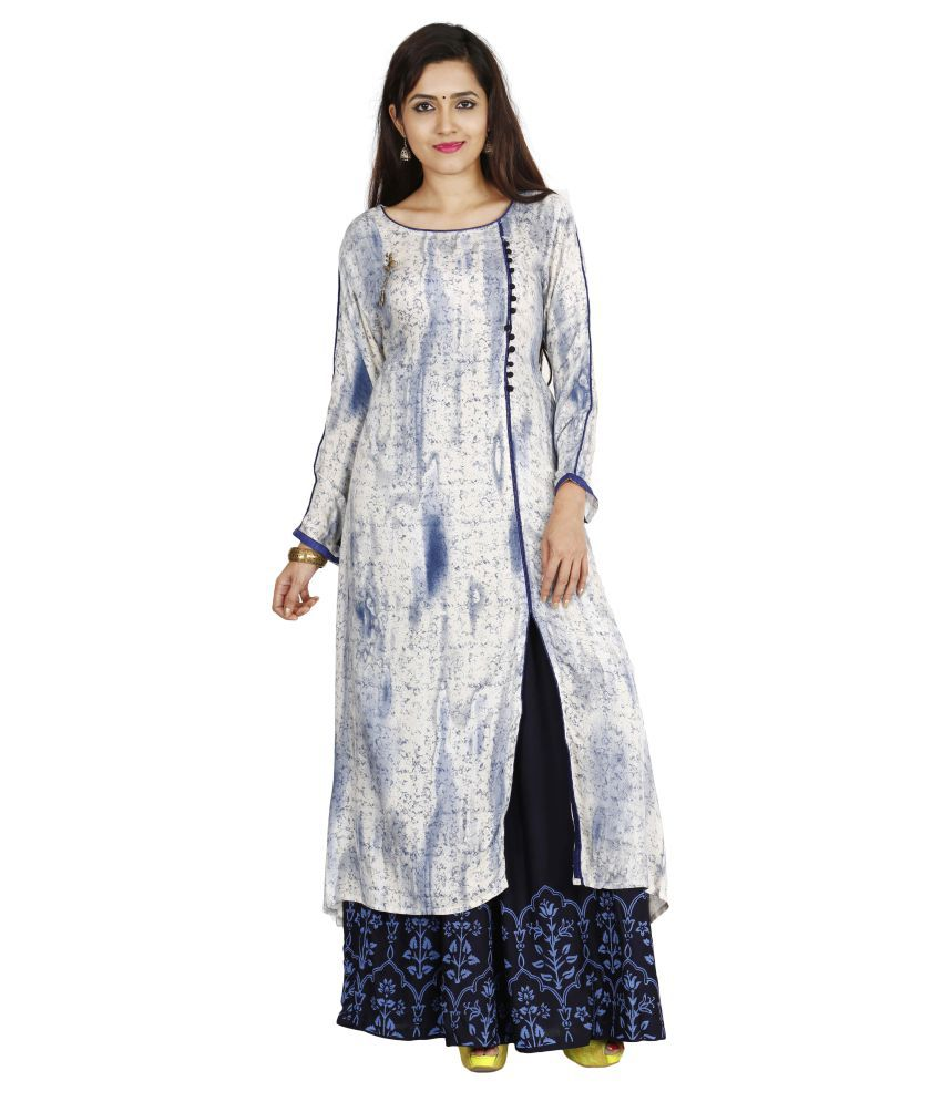 INDIJOY Blue Rayon A-line Stitched Suit