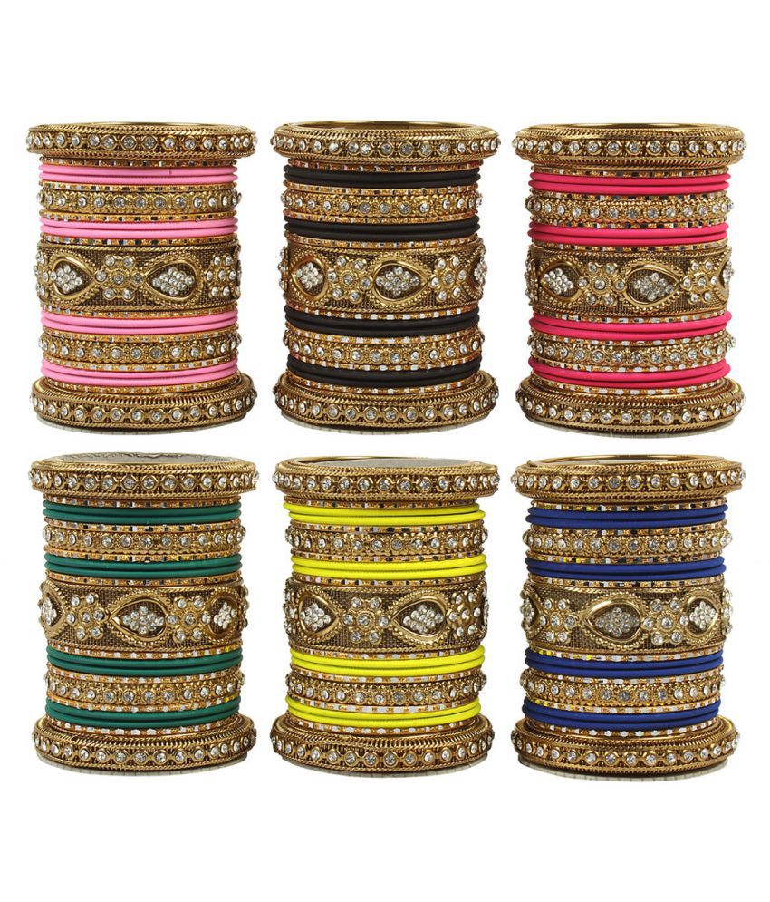 MUCH MORE Indian Traditional  6 Set of  Multi Colour  Bnagles Box With Beautiful Broad  Kada