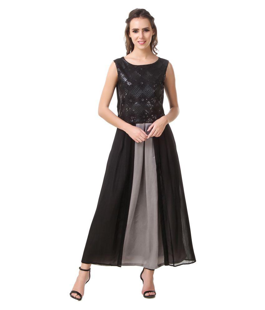 Blush Black Georgette High Low Hemline Stitched Suit