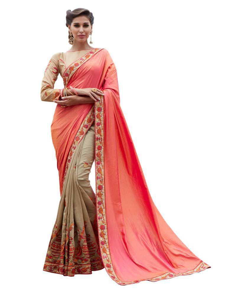 Missmerry Peach Jacquard Saree