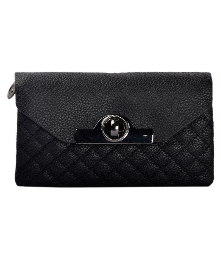 shopclans Black Faux Leather Box Clutch