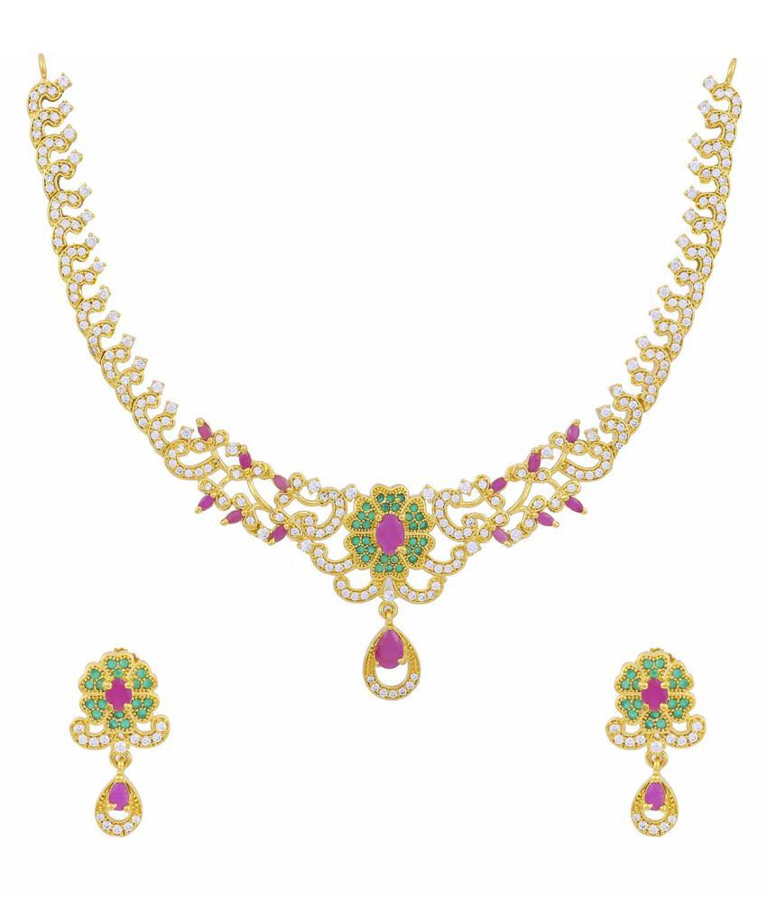 Jewlot(Group of Kalyani Covering) AD Alloy Necklace Set for Women and Girls()