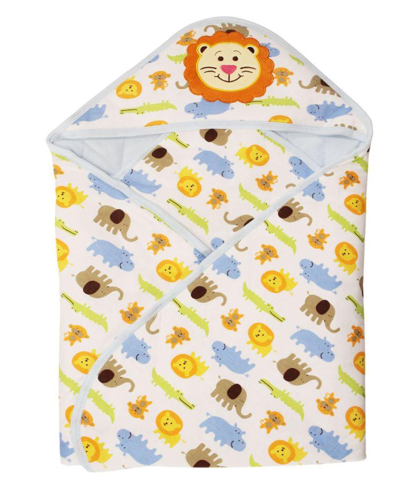 Wonderkids Blue Cotton Baby Wrap cum blanket ( 85 cm × 85 cm - 1 pcs)