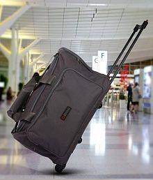 Bleu Amazing Grey 2 Wheel Overnighter Travel Bag with Trolley