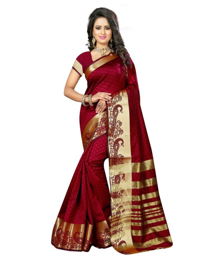 Sudarshan Silks Maroon Cotton Saree
