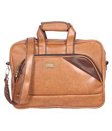 Handcuffs Brown Leather Office Laptop Bag- 15.6 Inch