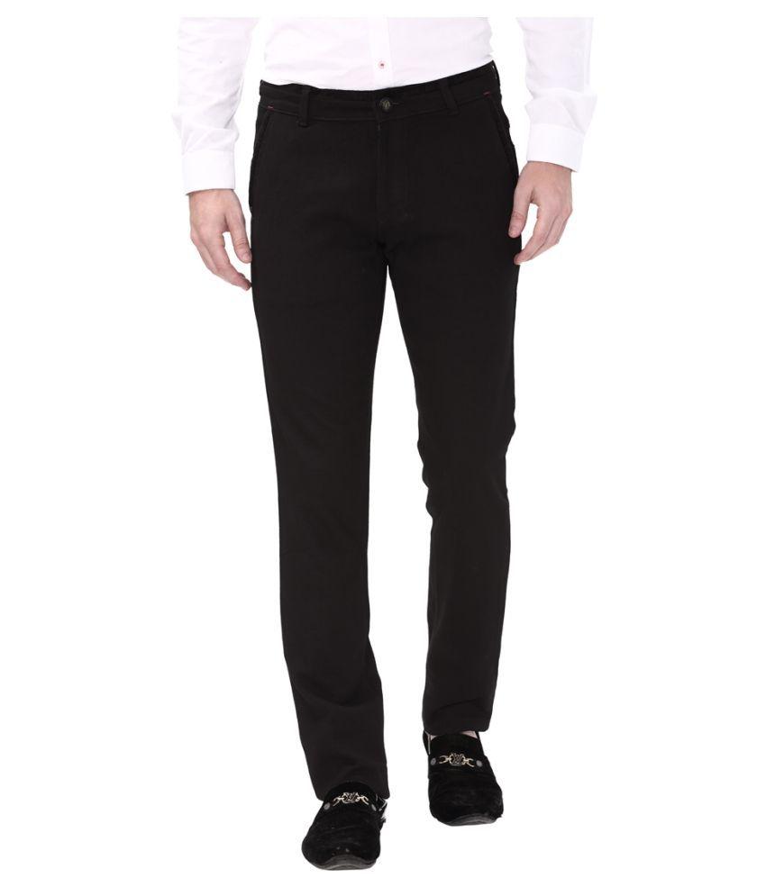 Apris Black Slim -Fit Flat Trousers
