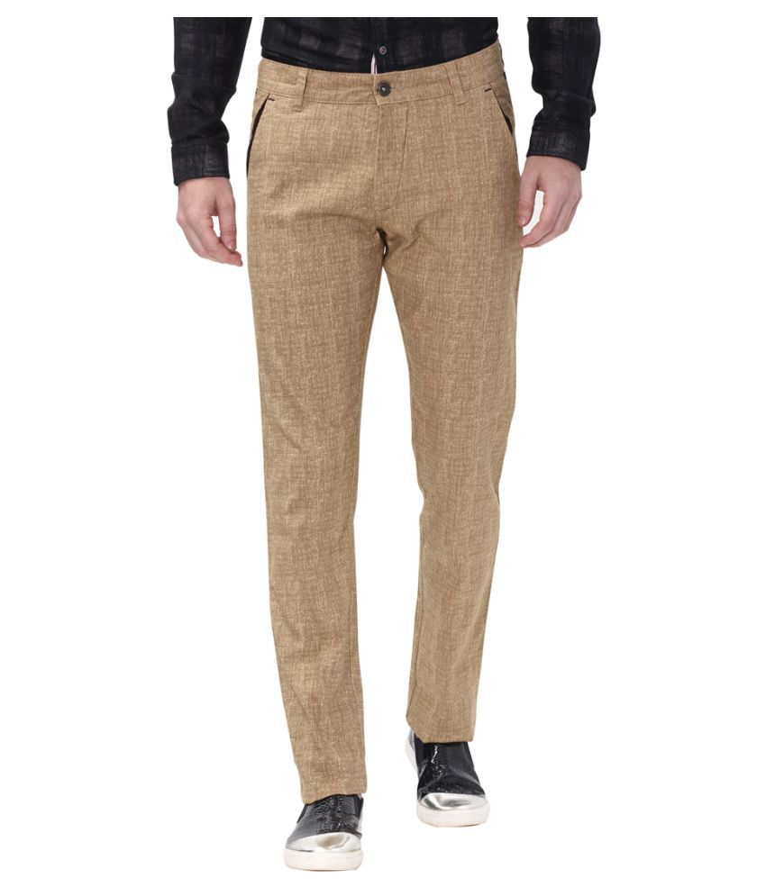 Apris Khaki Slim -Fit Flat Trousers