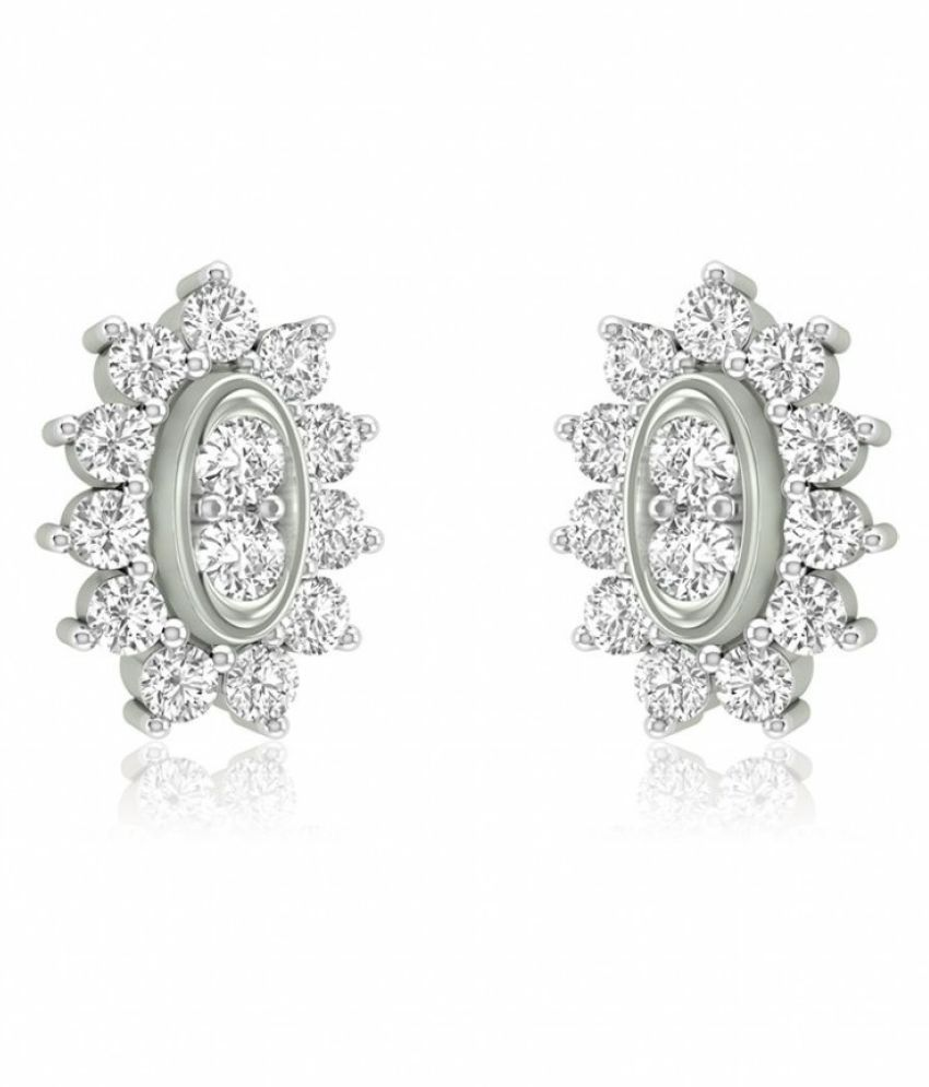 RockRush 18k BIS Hallmarked White Gold Diamond Studs