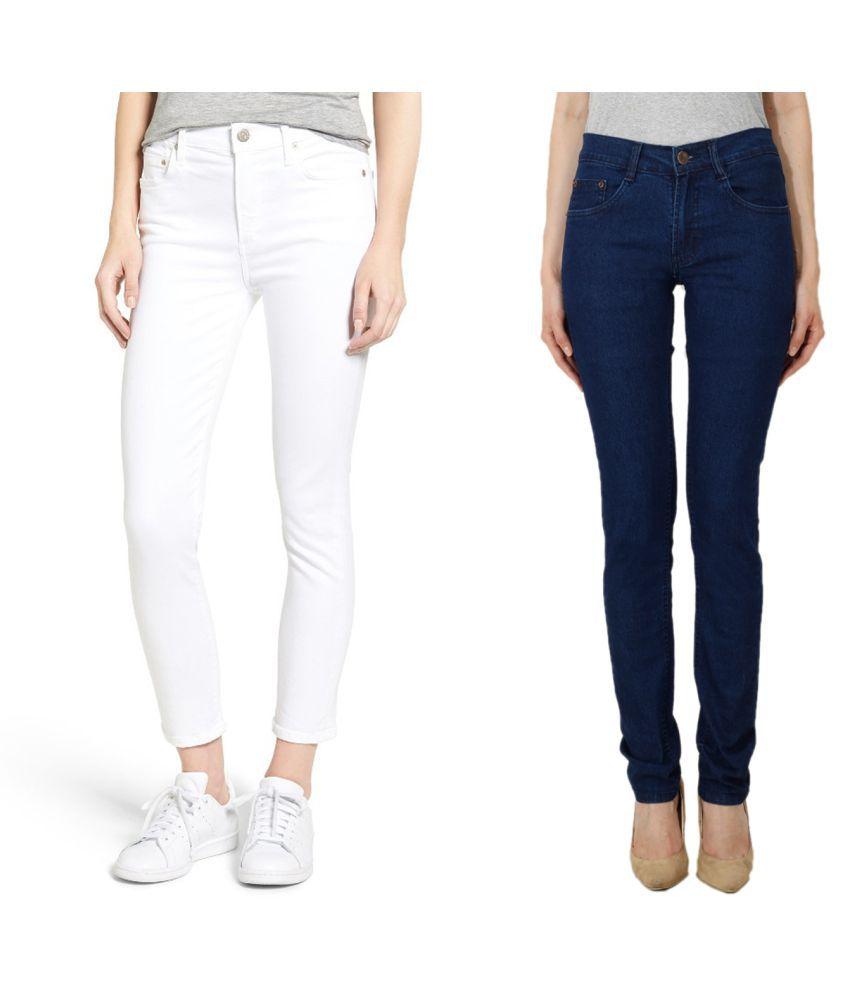 Ansh Fashion Wear Denim Lycra Jeans - White