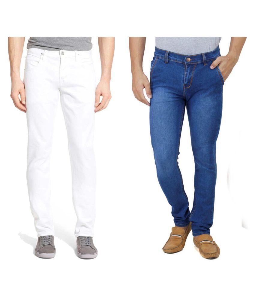 Ansh Fashion Wear White Regular Fit Jeans