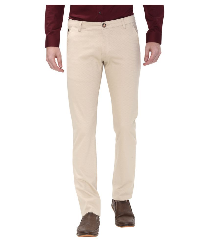 Apris Beige Slim -Fit Flat Trousers