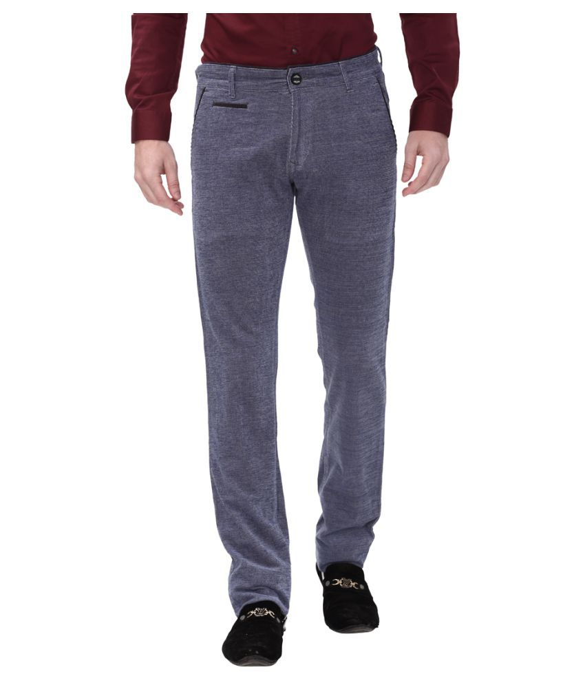 Apris Blue Slim -Fit Flat Trousers