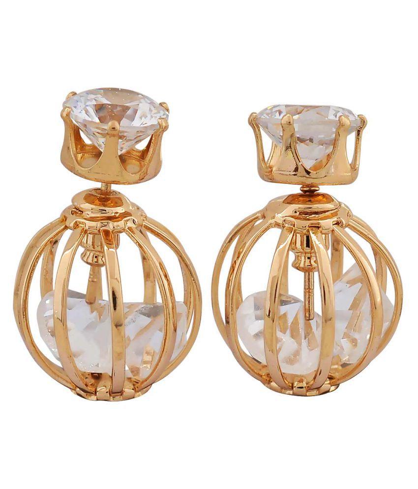 Maayra Two in one CZ Earrings Golden Ear Studs Party Jewellery