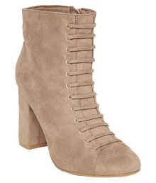 Flat n Heels Beige Ankle Length Slouch Boots