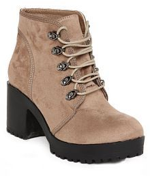 Flat n Heels Khaki Ankle Length Slouch Boots