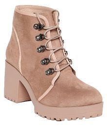 Flat n Heels Pink Ankle Length Slouch Boots