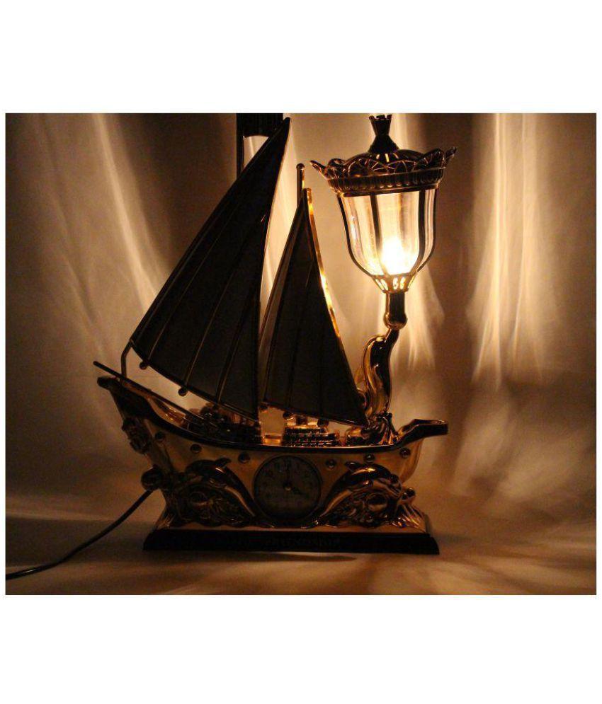 Admirable Funkytradition White Golden Flag Vintage Pirates Ship Table Lamp 40 Plastic Table Lamp Pack Of 1 Home Remodeling Inspirations Gresiscottssportslandcom