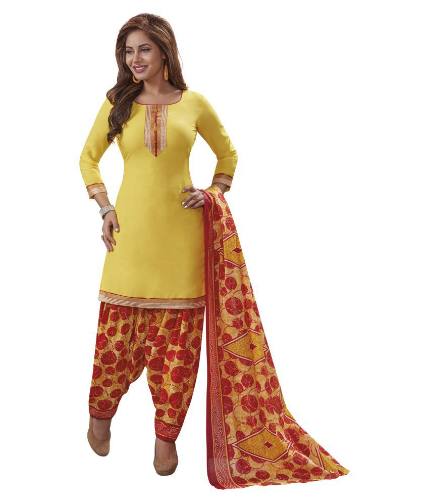 Pari Yellow Synthetic Dress Material