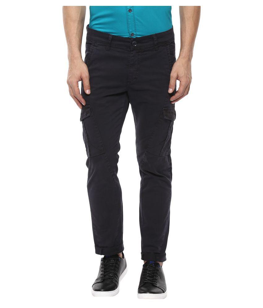 Mufti Grey Slim -Fit Flat Trousers