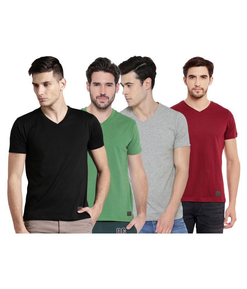 Polo Nation Multi V-Neck T-Shirt Pack of 4