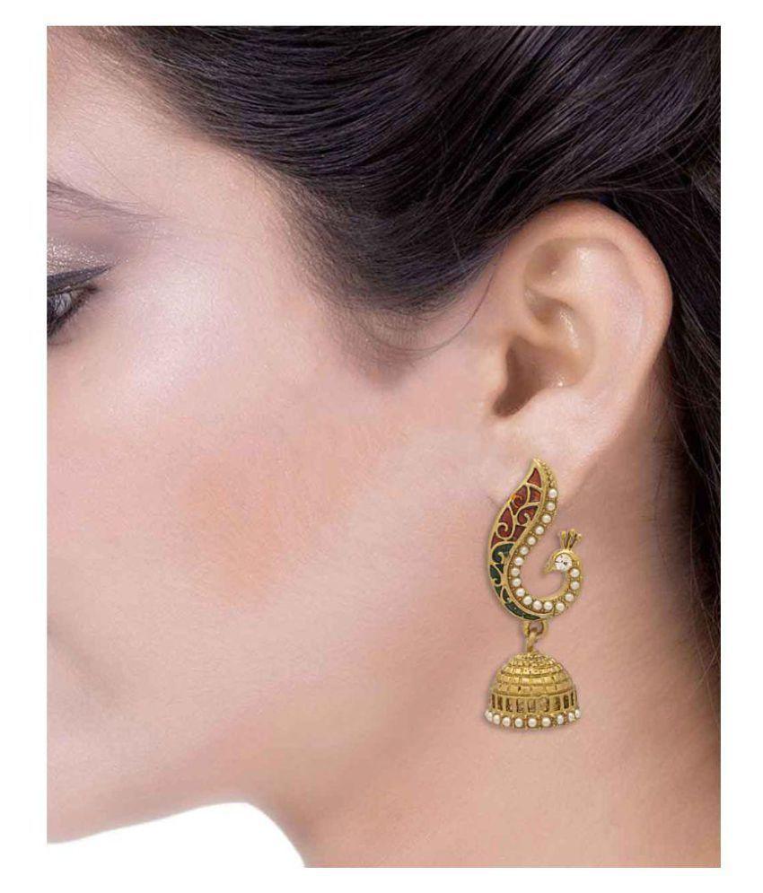 Voylla Golden Peacock Inspired Jhumki Earrings