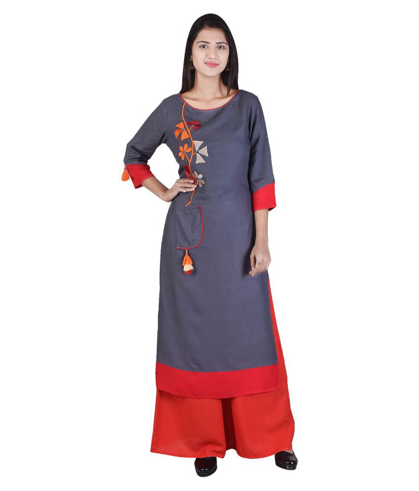 Ishvena Grey Rayon Straight Stitched Suit