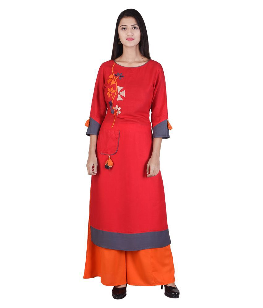 Ishvena Red Rayon Straight Stitched Suit