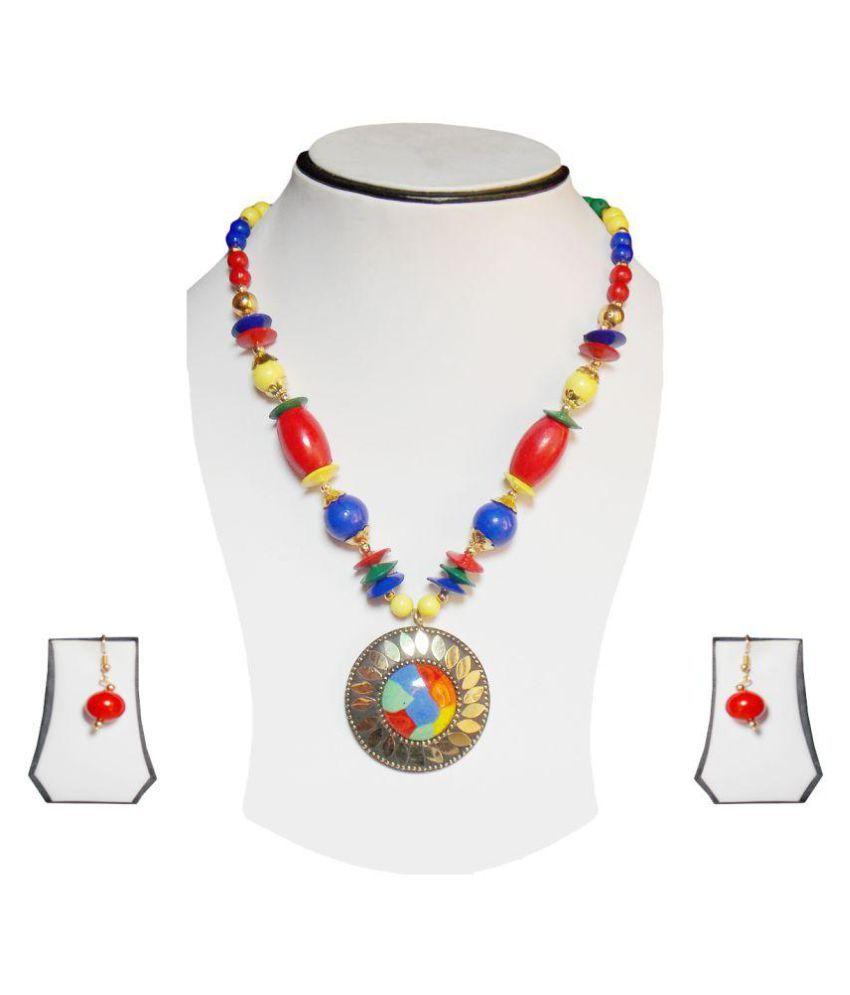 simbright gold multicolour long necklace set