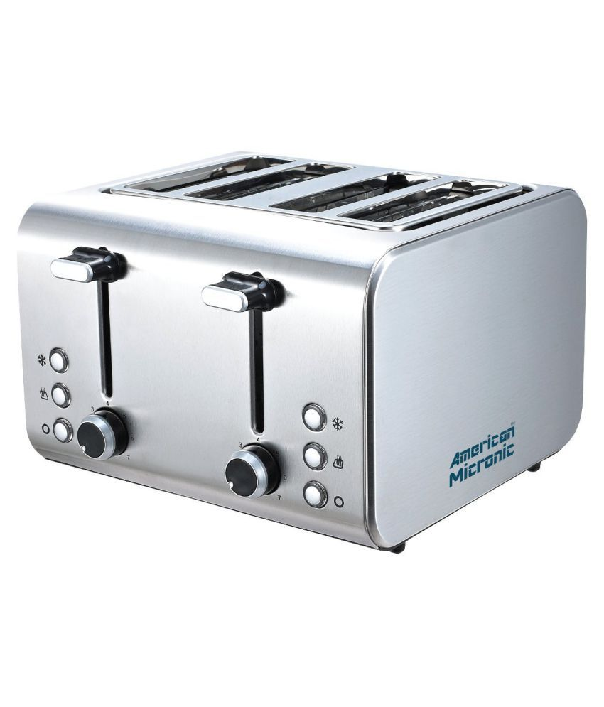 American Micronic AMI-TSS2-150Dx 4-Slice Imported Stainless Steel Pop-up Toaster