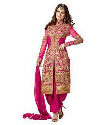 VastraParidhan Pink Georgette Dress Material