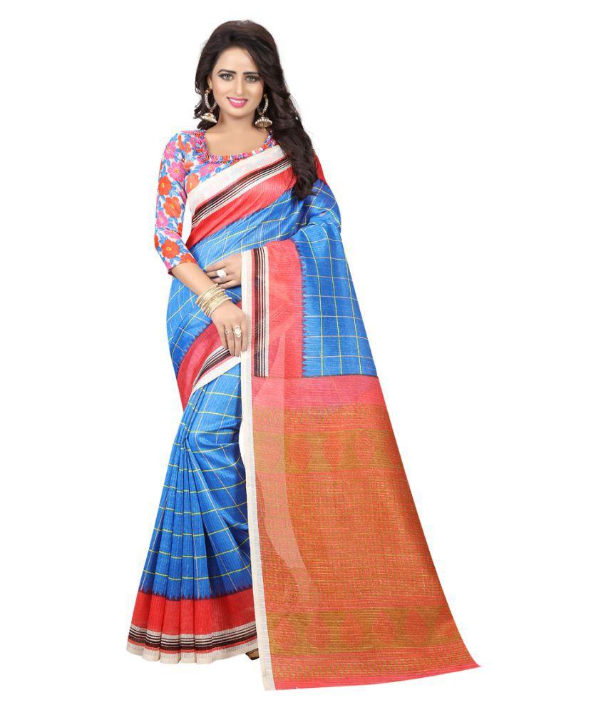kavya Fashion Blue Art Silk Saree