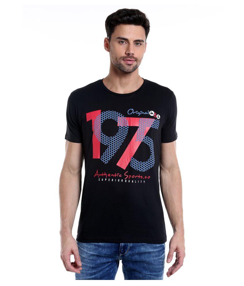 MASCULINO LATINO Black Round T-Shirt Pack of 1