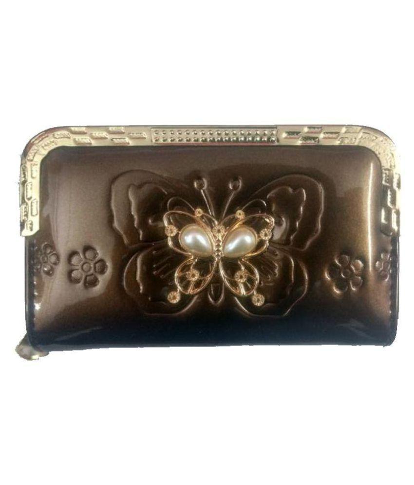 Lavino Brown Faux Leather Box Clutch