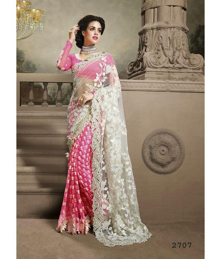 9011c3abac SareeShop Designer SareeS Pink and Grey Net Saree - Buy SareeShop Designer  SareeS Pink and Grey Net Saree Online at Low Price - Snapdeal.com