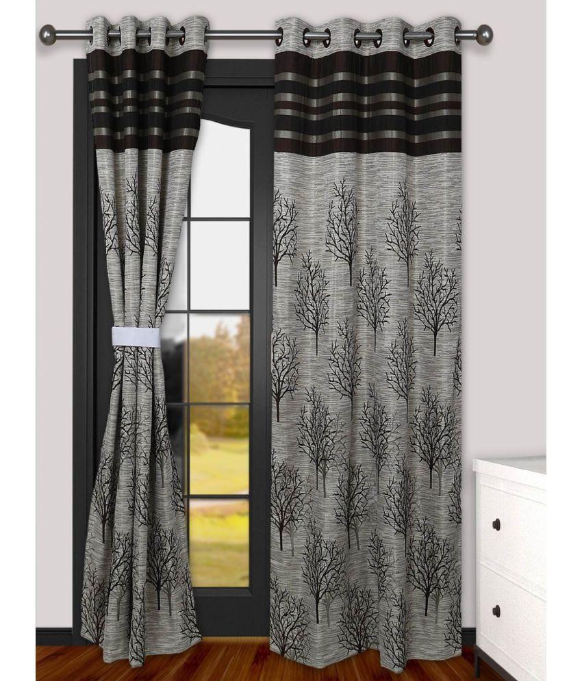 Akshaan Texo Fab Set of 2 Long Door Ring Rod Curtains Jacquard Coffee