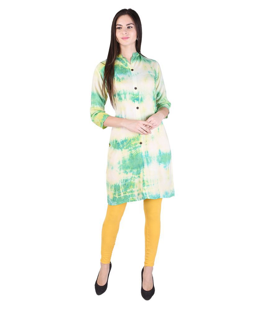 Anchy Green Rayon Straight Kurti