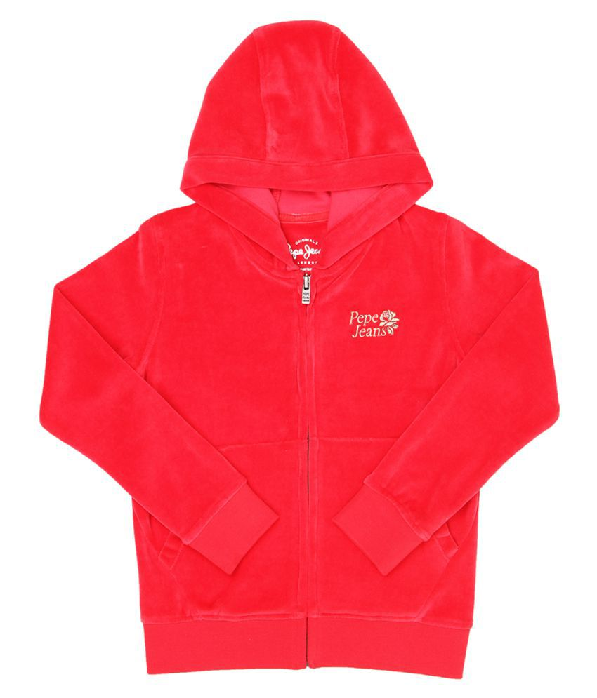 Pepe Jeans Girls Full Sleeve Casual Red Sweat Shirt
