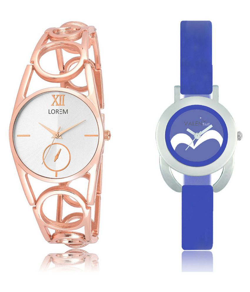 The Shopoholic White & Blue Analog With Latest Half Heart Dial Metal And Plastic Belt Combo Watch For Girls-stylish watch