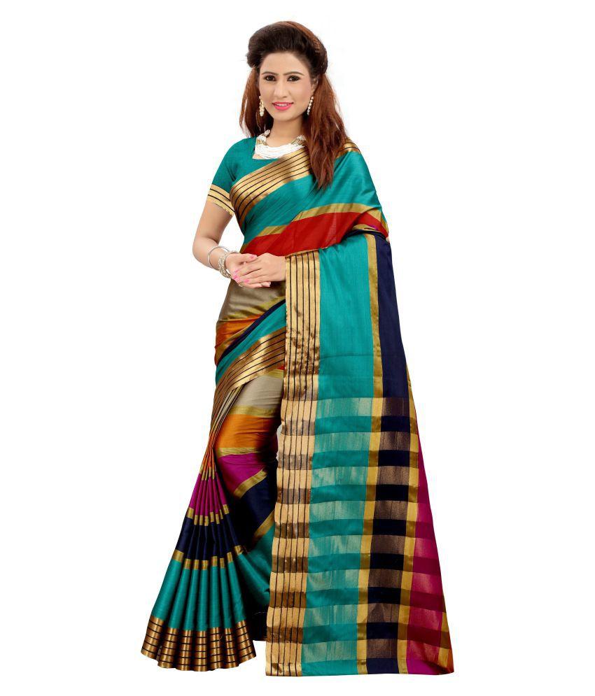 well tex Turquoise Cotton Silk Saree