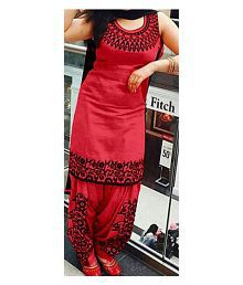 Vrundavan Fashion Red Cotton Dress Material