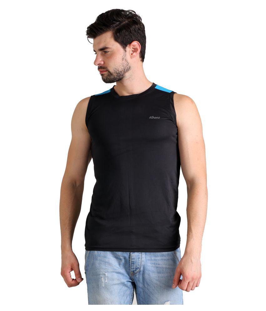 Atheno Black Round T-Shirt Pack of 1