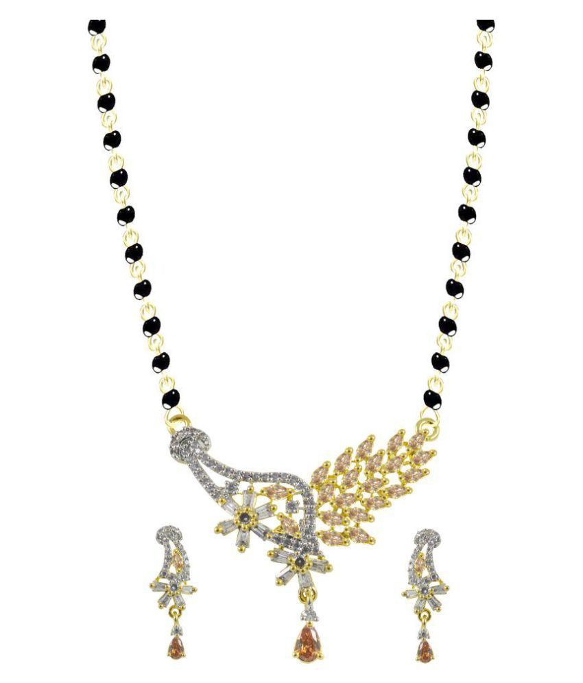 Rejewel Pendant With Earrings With Black Beaded Chain
