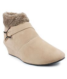 Lancy Beige Ankle Length Bootie Boots