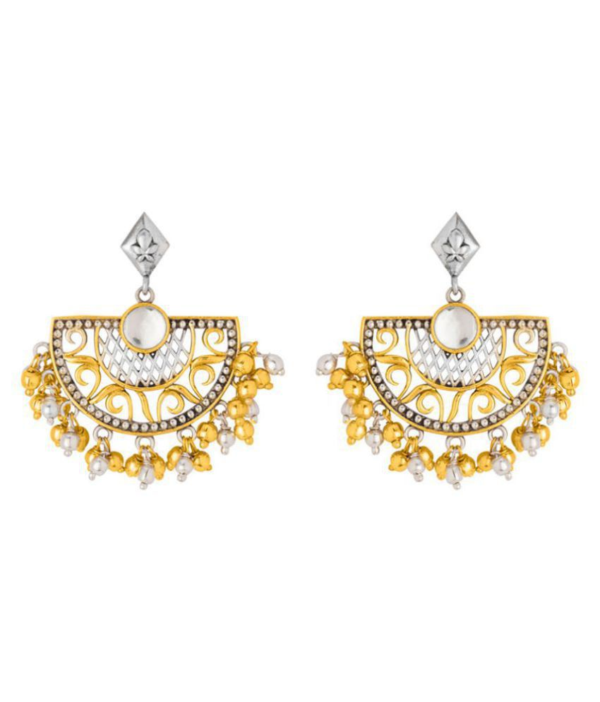 Voylla Brass Drop Earrings with Dual Tone Plating For Women