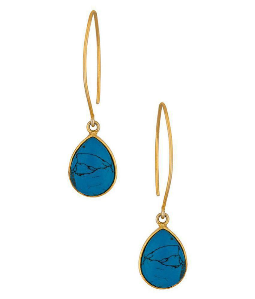 Voylla  Blue Stone Decked Stylish Dangler Earrings For Women
